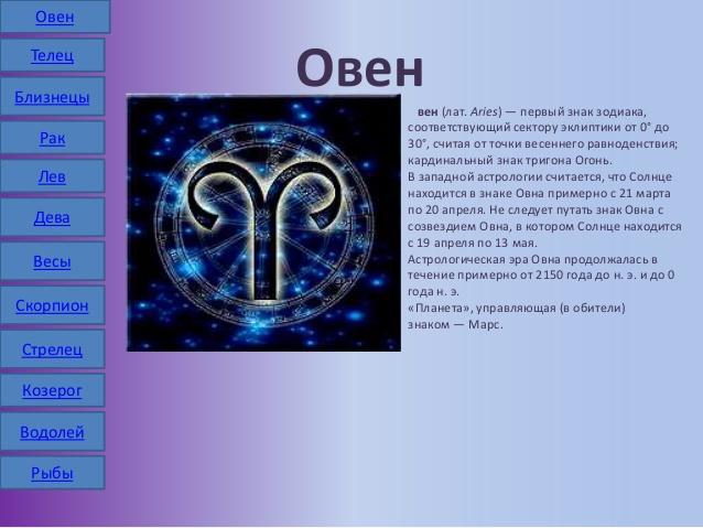 Знаком овен под рождёныые